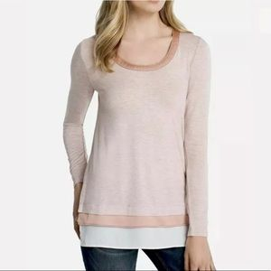 WHBM Pink Heather Ball Chain Tee NWT